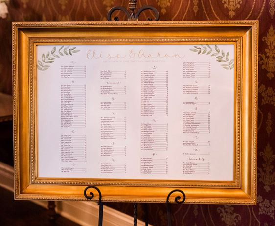 """Instead of individual escort cards, your guests can find their seat with these """"touchless"""" escort boards placed just outside the Ballroom. Curtesy of Black Iris Estate and CANAL 337, Thomas Venues."""