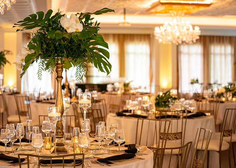 The ornate setting of the Black Iris Estate Ballroom is perfect for Wedding Receptions and Corporate Events