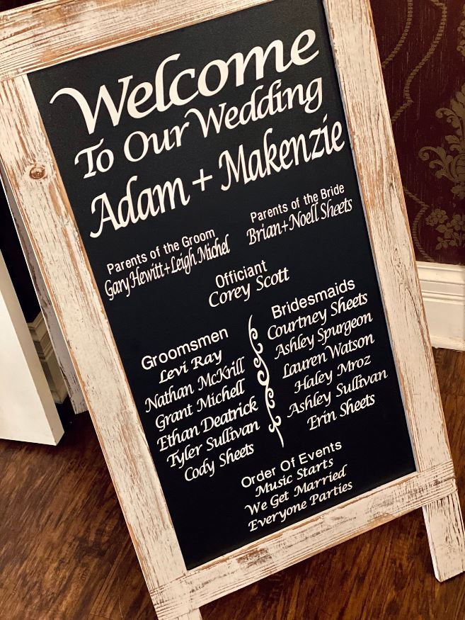 """This freestanding chalboard sign was the perfect vehickl for this couples """"touchless"""" program. They guest entering the Ceremony area were able to view the style and feel of the event."""