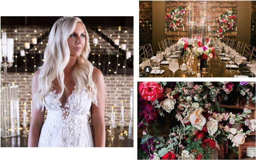 Real CANAL 337 Bride, Danielle, had a vision of soft romanticism, femininity, and candlelit rich glow for her December wedding. She was able to create a warm, gorgeous ceremony space through rich blooms, twinkle lighting, and many candles! She paired her florals and setting with her gorgeous Galia Lahav gown for the perfect look!