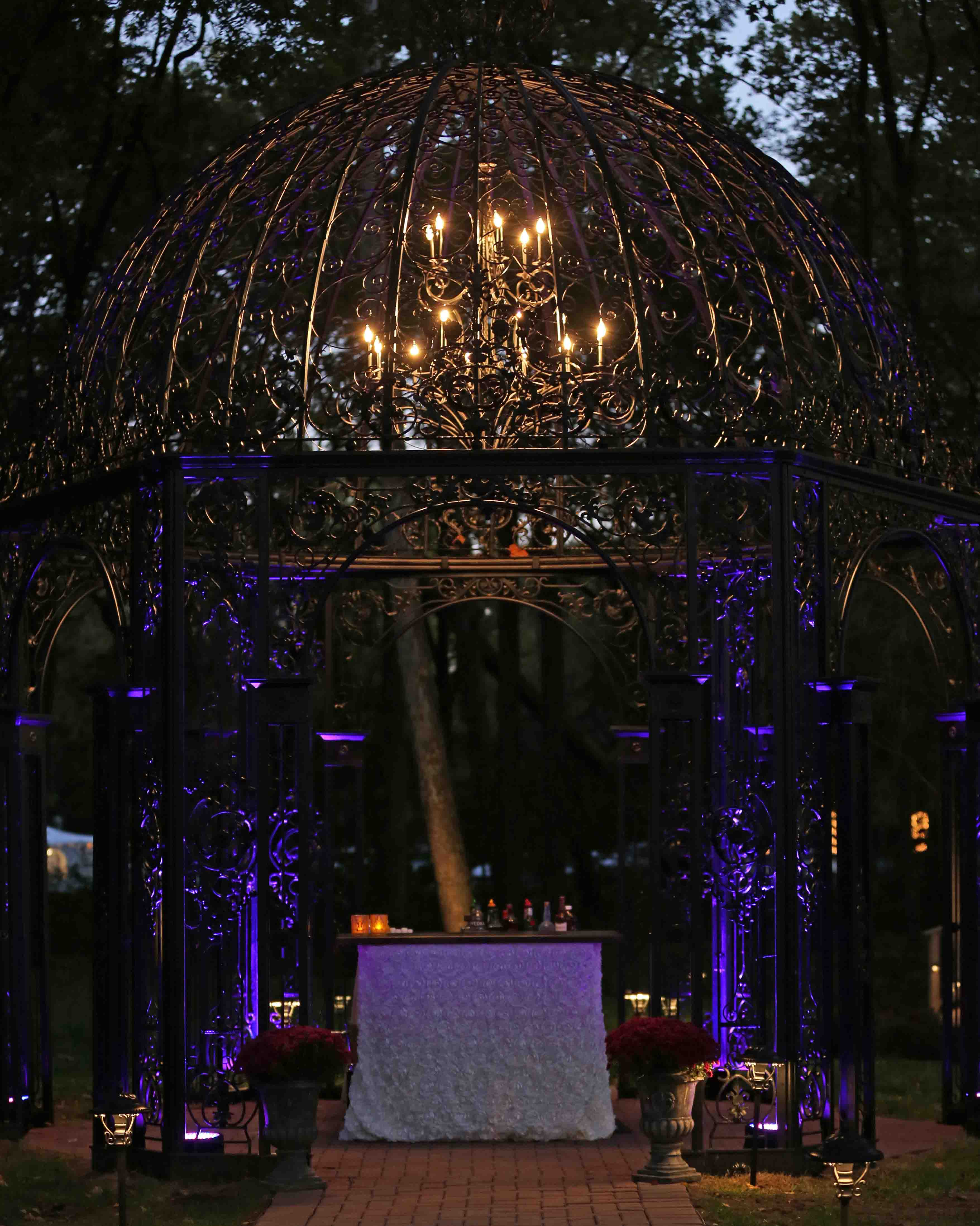 Black Iris Estate gazebo at night