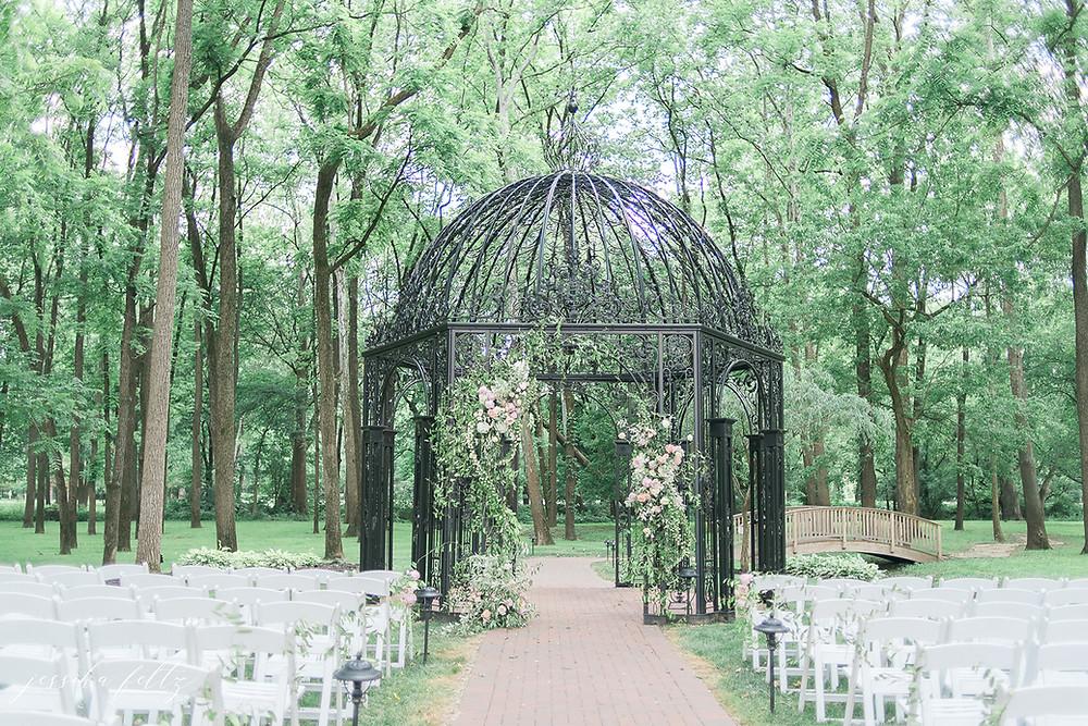 outdoor wedding ceremony in gazebo