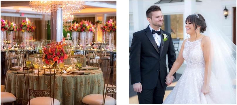 Real Black Iris Estate Bride Amanda reflected the caviar beading from her Hayley Paige gown into her gorgeous linens beaded patterns for her spring wedding.