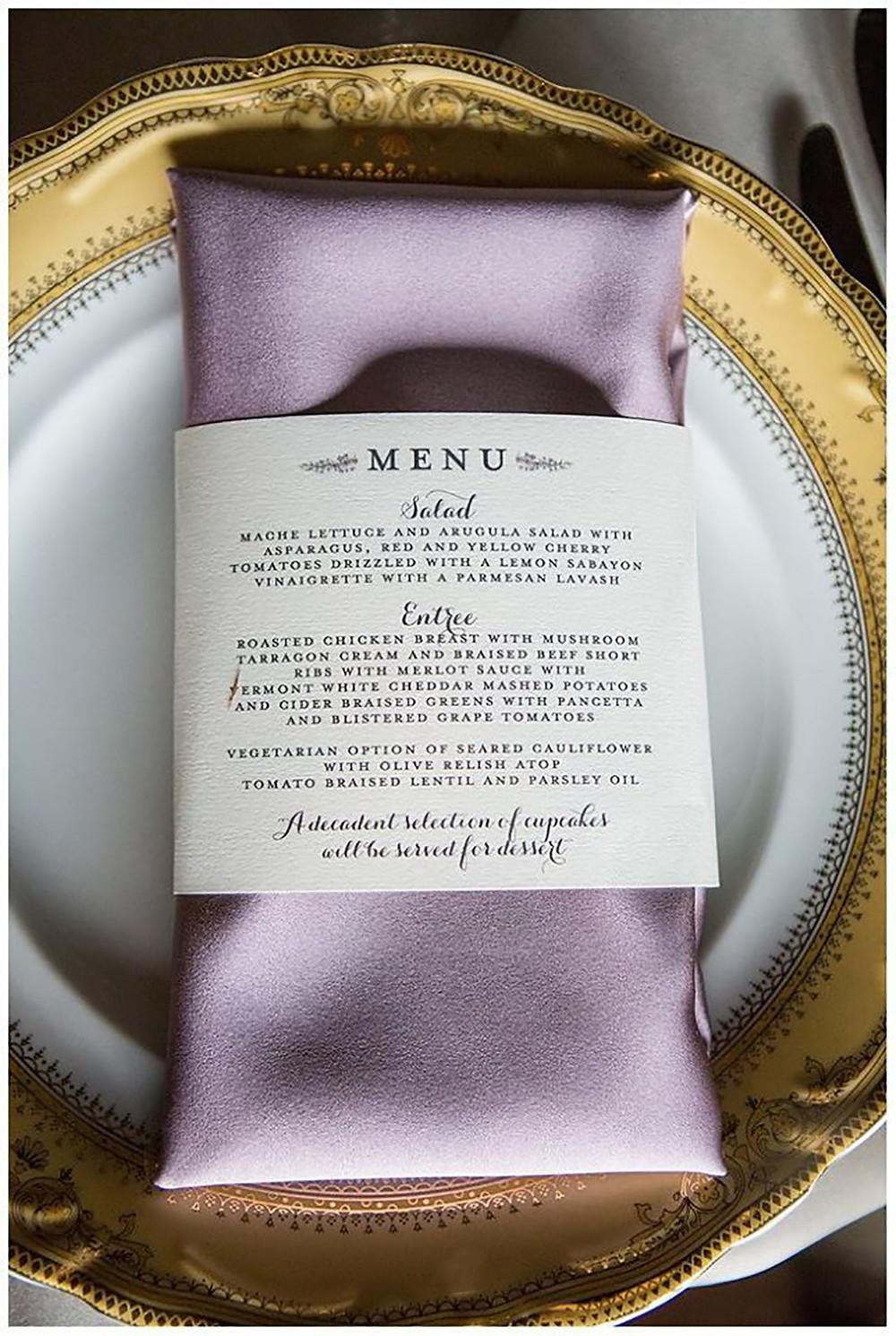 wedding catering menu card