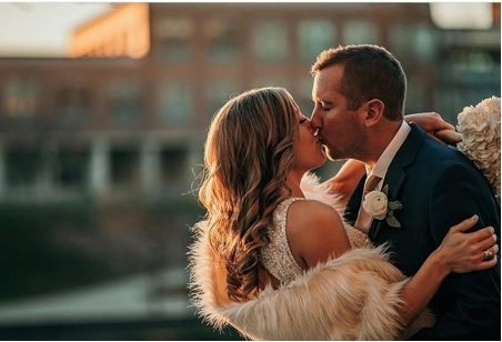 Real CANAL 337 Bride Megan chose the perfect art deco vintage beading for her glamorous silk sheath gown paired with a gorgeous champagne fur wrap for her late Fall wedding