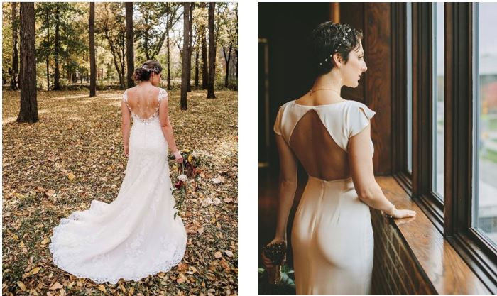Photo left: Real Black Iris Estate bride Erin chose the perfect cap sleeve, lace, fitted gown for her classic Fall outdoor wedding with a gorgeous pearl back necklace to show her personal touch on the classic style. Photographer: Cotangent Studio -- Photo right: Real CANAL 337 bride Anna styled a modern, chic fit and flare crepe gown with the perfectly butterfly cap sleeve to give a touch of soft coverage and unique look to her timeless gown during her Summer wedding. Photographer: Wandering Heart Photo