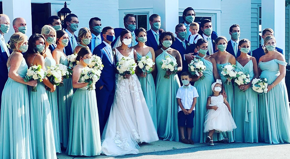 Masks for the entire bridal party and family were color coordinated as this real Black Iris Estate couple made the best of the situation in September 2020.