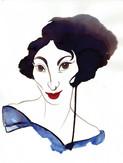 Portrait femme (Encre, gouache)