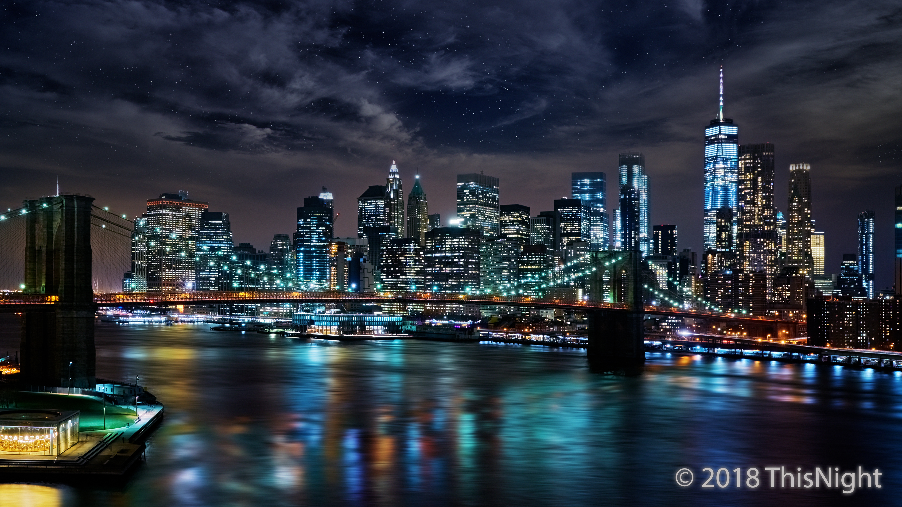 Night. Brooklyn Bridge. Manhattan