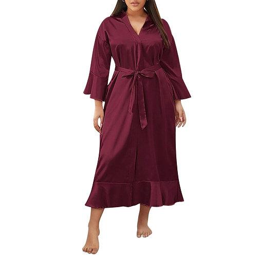 Solid Colour Satin Silk Robe