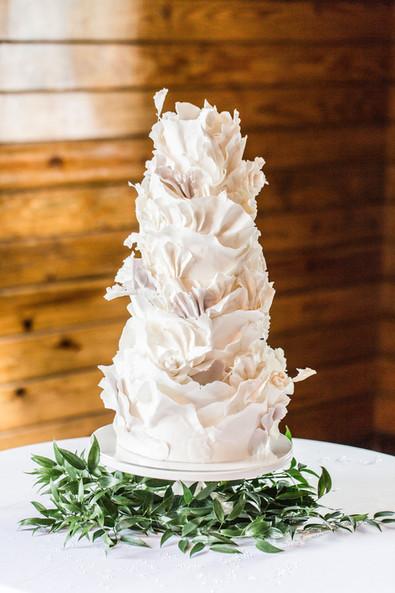 White Torn Paper Ruffles Cake