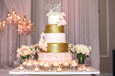 Blush Ruffles & Gold Wedding cake