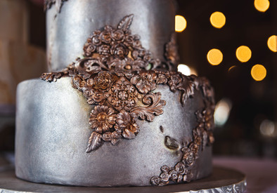 Silver Metallic Bas Relief Wedding cake