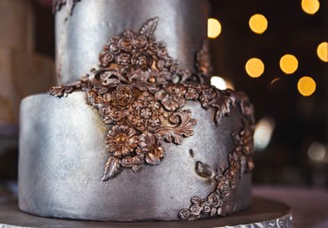 Silver Metallic Bas Relief Wedding cake