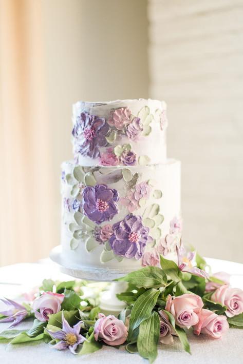 Lavendar Painted Buttercream Wedding cake