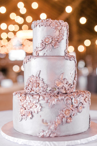 Tarnished Silver Metal Wedding cake