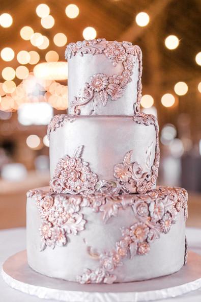 Tarnished Silver Metal Wedding cake