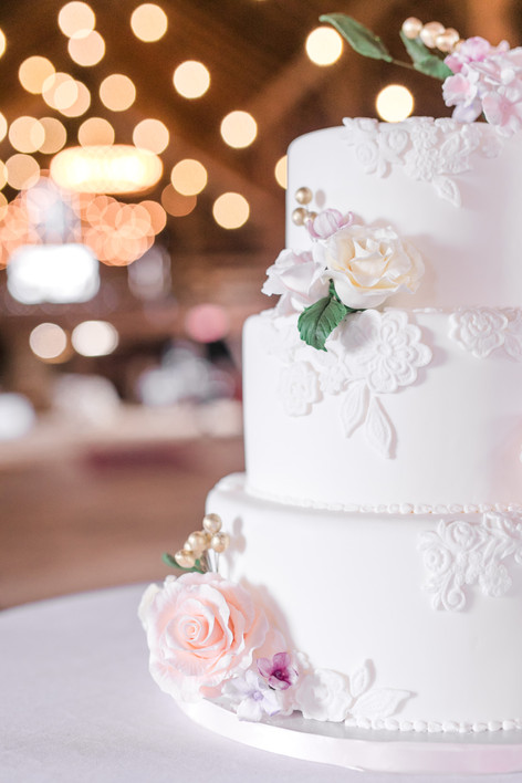 Elegant Lace Wedding cake with Sugar florals