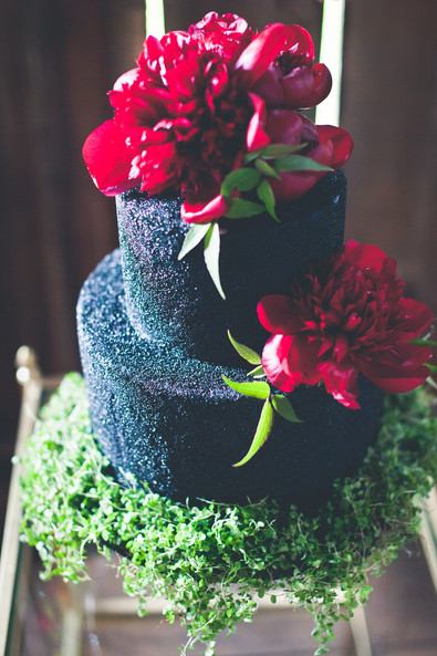 Black Sparkle Jewel Tone Wedding cake 1