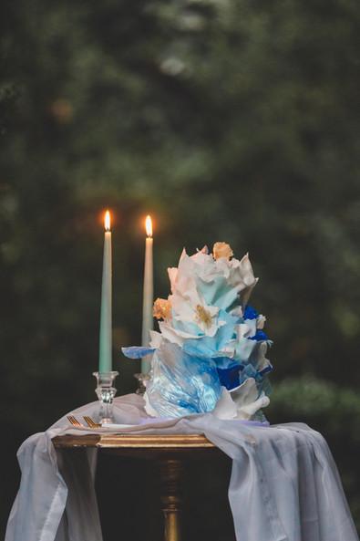Vintage Blue Ruffles Wedding cake