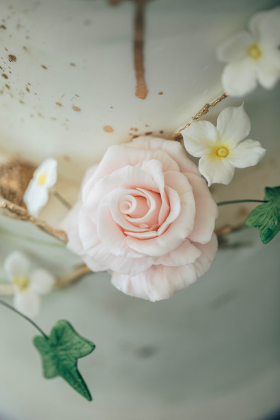 Abstract Garden Wedding Cake