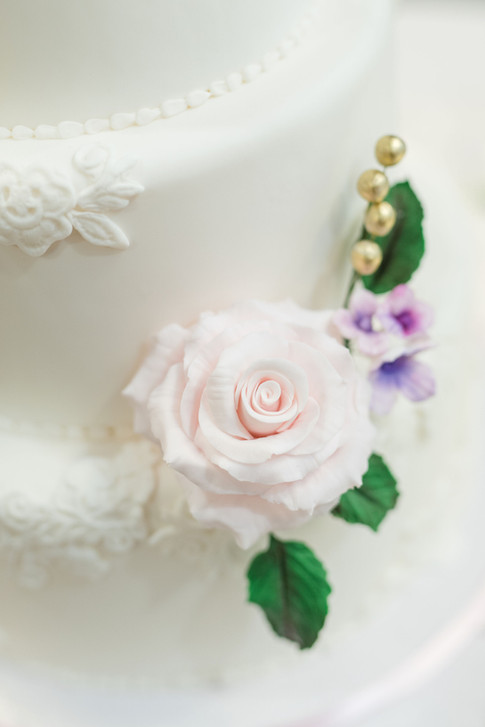 Lace Embroidery Wedding cake with Sugar Rose