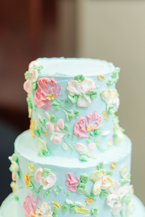 Teal Floral Painted Buttercream Cake