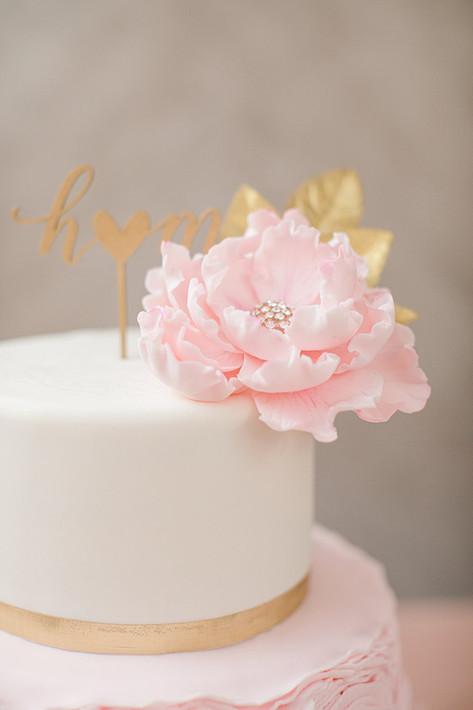 Blush & Gold Ruffle Wedding cake