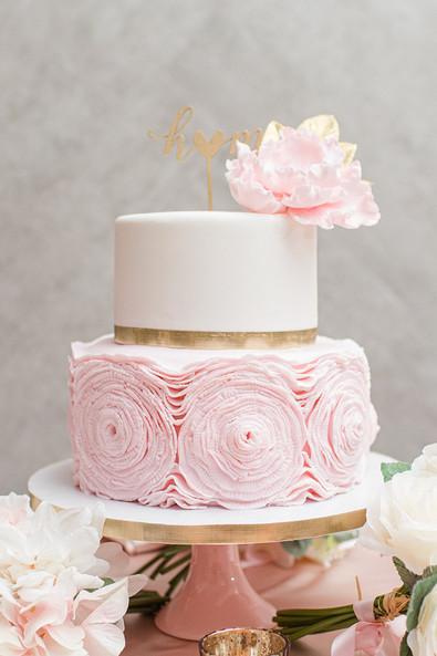 Blush Ruffle & Gold Wedding cake