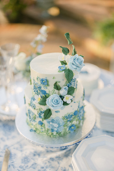 Blue Painted Buttercream Cake