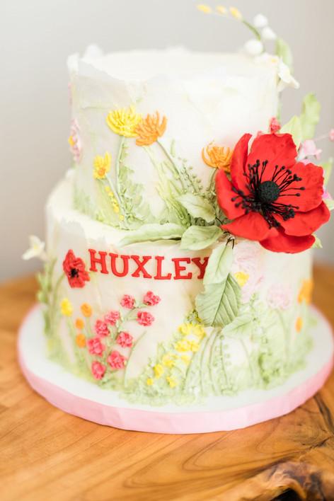 Red Sugar Poppy Birthday Cake