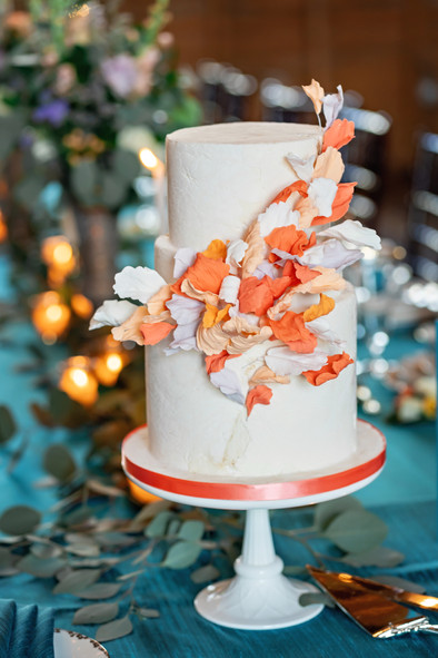 Peach Petals Wedding cake
