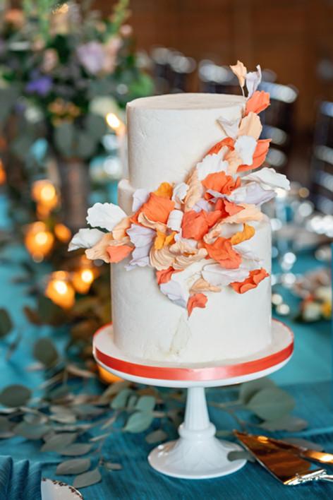 Peach Petals Wedding cake