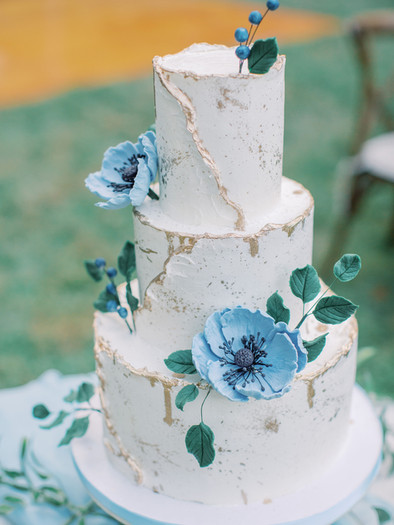 Abstract Blue Poppy Wedding cake