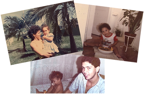 Collage of  three photos, mother holding daughter, father and dauther and girl eating sitting on the floor