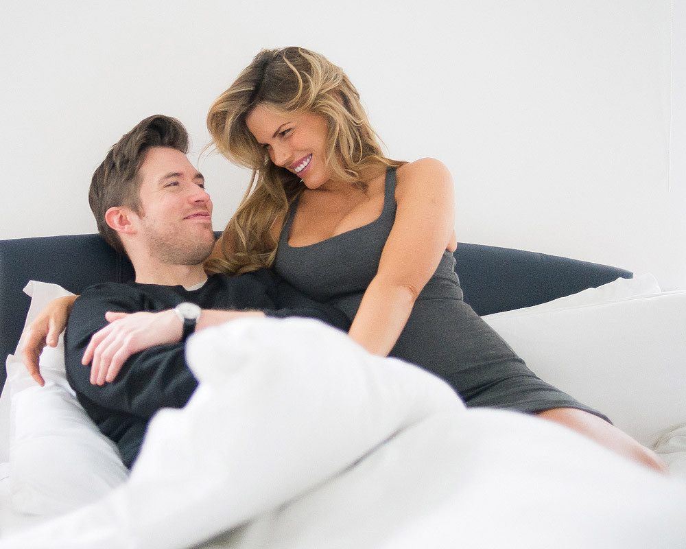 Rosalind Lipsett pregnant and Rob Hastings in bed