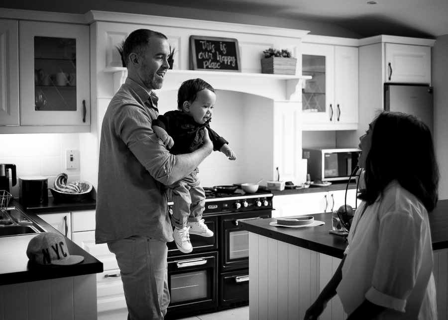 Family in the kitchen - Family session at home in Dublin