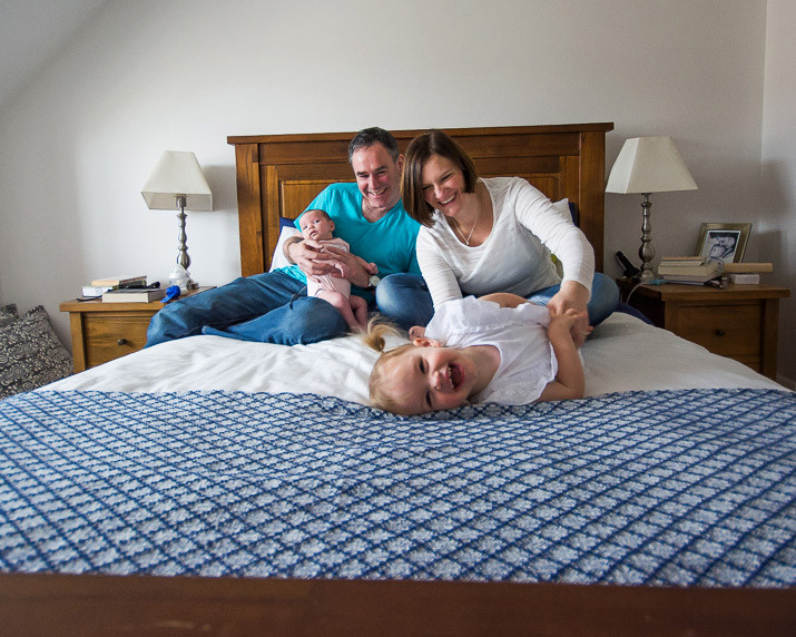 Family portrait on the bed