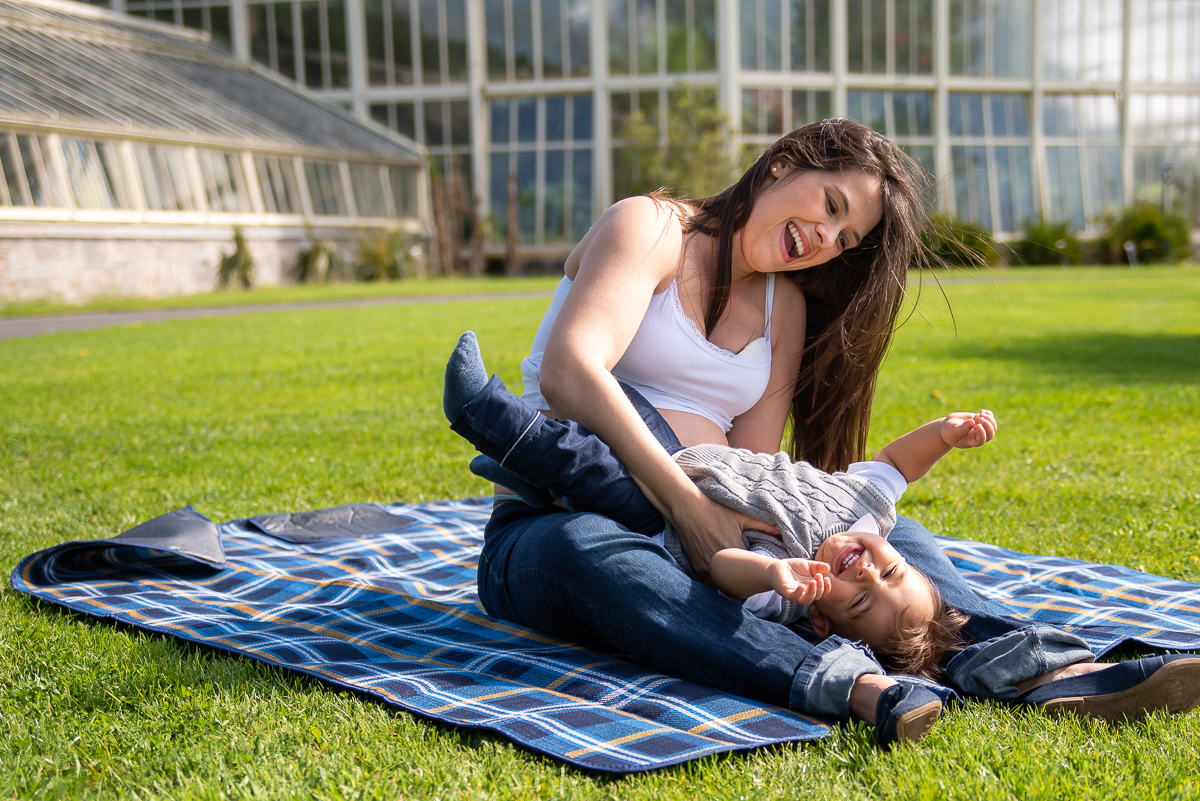 Mother playing with child by Camila Lee Family Photographer - Dublin - Botanic Gardens