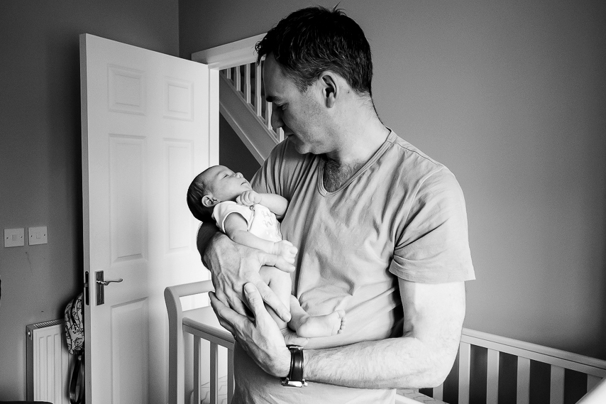 Dad and baby girl - Family Photography Session at home in Dublin by Camila Lee Family Photographer