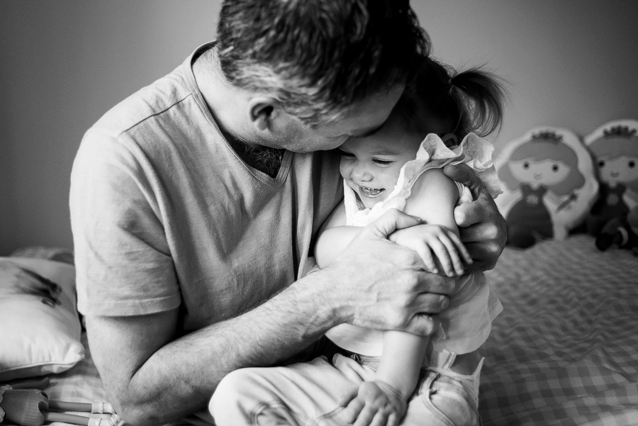 Dad and Little girl - Family Photography Session at home in Dublin by Camila Lee Family Photographer