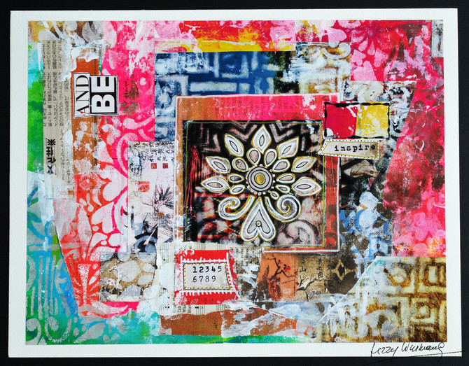 Collage Papers with Citrasolv and                            Stencils