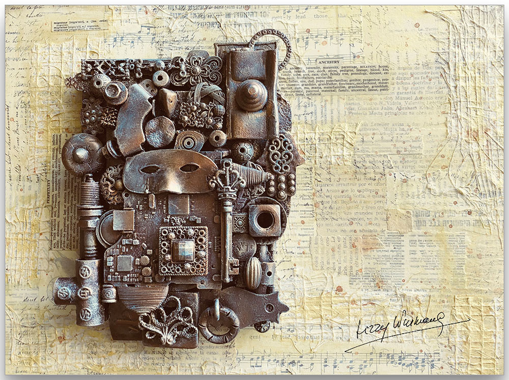 Mixed Media on wood panel by Lizzy Wurmann