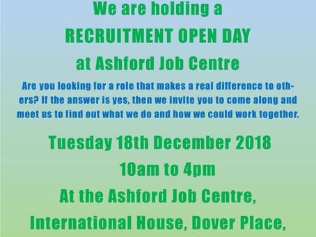 Recruitment Open Day on 18th December 2018 at Ashford Job Centre