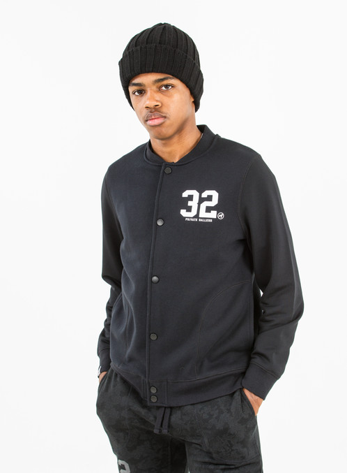 Hackney Baseball Jacket (Black) | Private Ballerr - Mens British ...