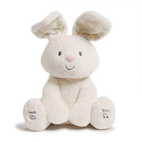 GUND┃躲貓貓音樂互動玩偶 - 小白兔