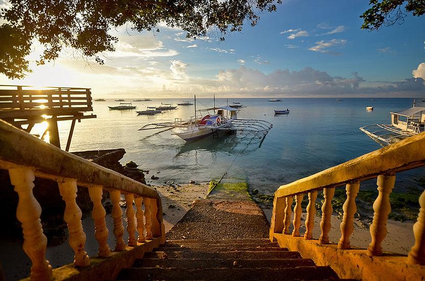 En İyi Sahil ve Tekne Duvar Çeşitleri | 3D Tahta Merdiven Manzara Duvar Kağıdı