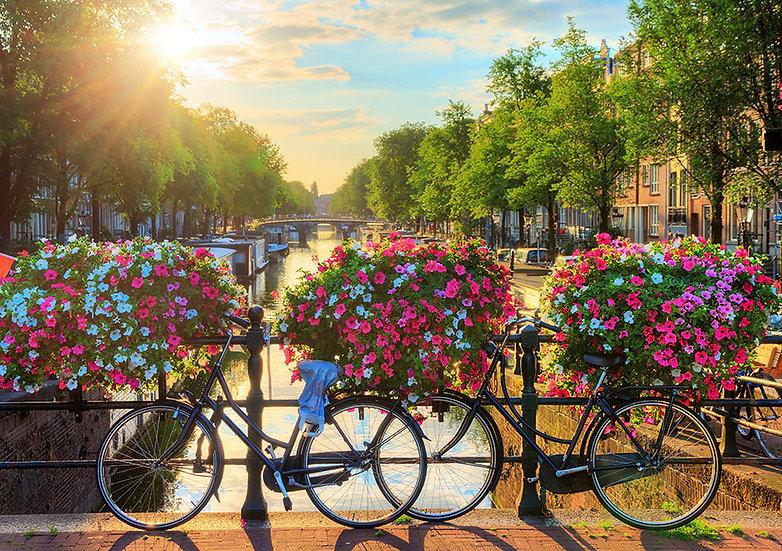 Bisikletli Yaz Gün Doğumu Duvar Kağıtları | 3D Hollanda Duvar Kağıtları