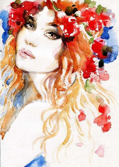 Genç Kız Odası Duvar Kağıdı | Kadın Poster Retro Duvar Kağıdı | Duvar34.com