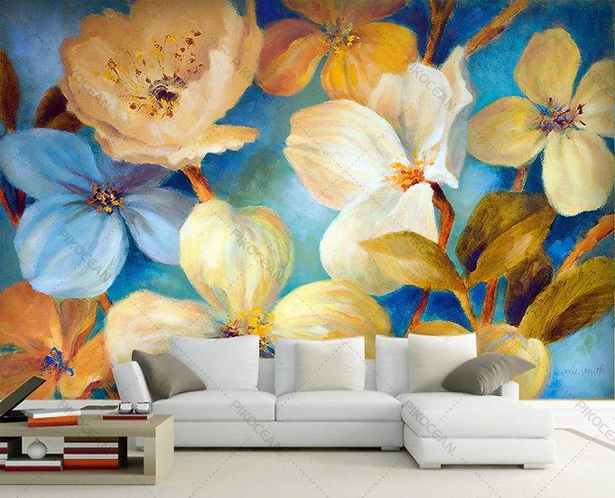 3 Boyutlu El Çiçekleri Tasarım Duvar Kağıdı | Oturma Odası Duvar Kağıdı